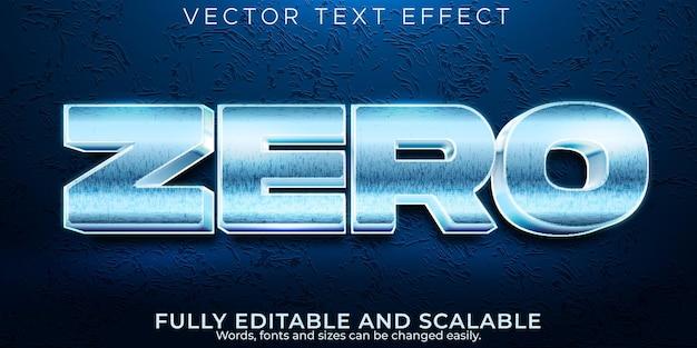 Zero metallic text effect, editable iron and steel text style Premium Vector