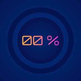 0% 벡터 디지털 카운트 다운 원 보드 원형 섹터 백분율 다이어그램 핫 핑크에서 주황색 벡터 다채로운 파이 차트로 그라데이션이 있는 미터 표시기