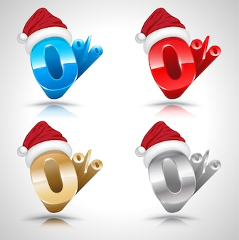 Zero percent with santa clause hat 3d style set.