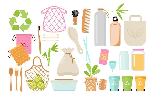 제로 폐기물 및 친환경 항목 플랫 세트. 플라스틱 무료 용기 및 위생 용품