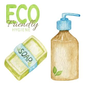 ゼロウェイストのバスルームアクセサリー、天然固形石鹸、シャンプーバー。隔離された環境に優しい衛生製品。