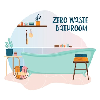 ゼロウェイストバスルーム。エコロジーを気にする人のための環境にやさしい製品とツールを備えたバス。衛生のための環境に優しい供給。