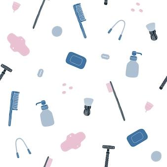 Zero waste bathroom. hand drawn seamless pattern