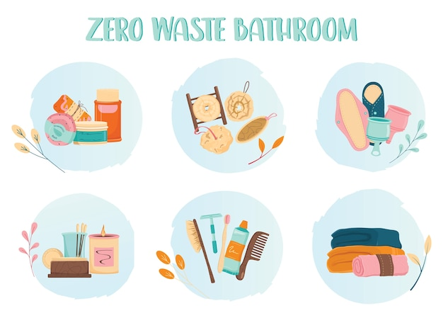 Zero waste bathroom icon set. eco friendly product and tool for bath. eco friendly supplies for hygiene. biodegradable soap and brush, reisable pad and towel.