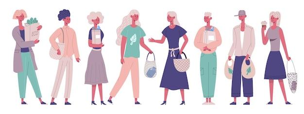 Персонажи с нулевыми отходами несут эко-пакеты для покупок. эко продуктовый магазин мужских и женских персонажей векторные иллюстрации набор. люди, использующие экологически чистые пакеты без отходов