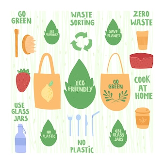 Zero waste concept. glass bottles, reusable dishes, fabric bags.
