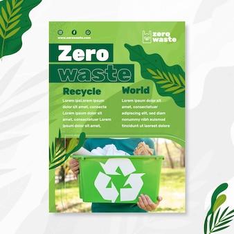 Шаблон плаката концепции нулевых отходов