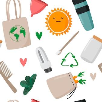 Zero waste concept seamless pattern.