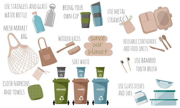Концепция нулевых отходов. набор различных эко объектов. сортировка отходов концепция экологии и утилизации.