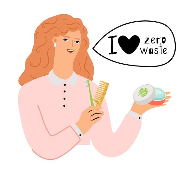 ゼロウェイストのコンセプト。有機化粧品と自然物のベクトル図を持つ女性