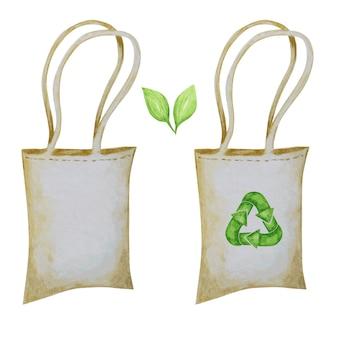 廃棄物ゼロのコットンバッグ、グリーンリサイクルサイクル矢印アイコン。水彩の手描きイラストは、白い背景で隔離。生態学的なデザインコンセプト。リサイクルエコライフスタイルテキスタイルショッピングバッグ。