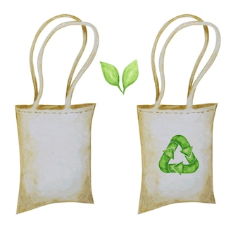 Zero waste cotton bag, green recycled cycle arrows icon. watercolor hand drawn illustration isolated on white background. ecological design concept. recycled eco lifestyle textile shopping bags.