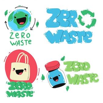 Zero waste cute cartoon isolated