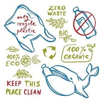 テキストクリップアートイラストセットのバナーにクジラのペットボトルとビニール袋で地球のゼロウェイストエコ環境汚染問題