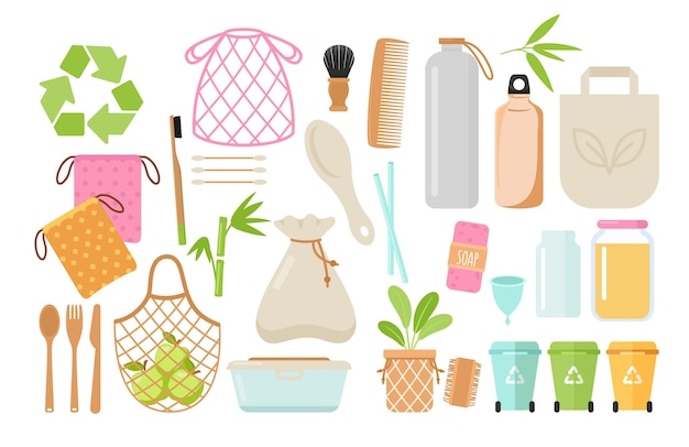 Zero waste and eco friendly items flat set. plastic free containers and hygiene things