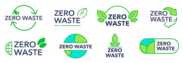 Zero waste eco friendly logos set
