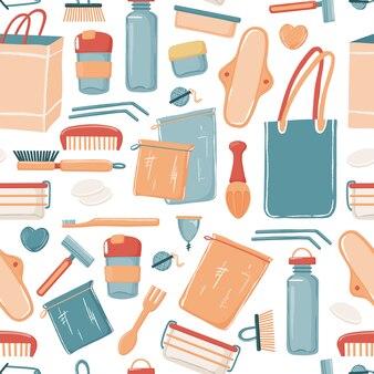 Zero waste, eco lifestyle seamless pattern with canvas