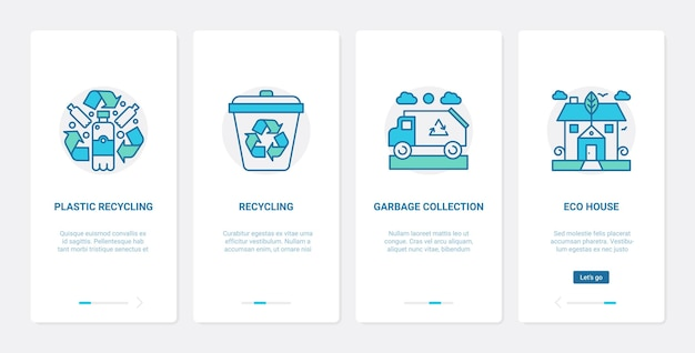 Zero waste eco recycling technology to save ecology ux ui mobile app page screen set