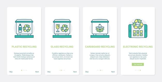 생태 ux ui 모바일 앱 페이지 화면 세트를 저장하는 제로 폐기물 에코 재활용 기술