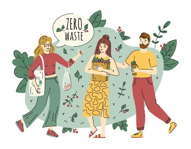 Zero waste and ecology protection concept in doodle style