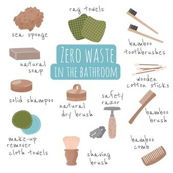 廃棄物ゼロ要素セット。リサイクル可能で再利用可能な製品を備えた環境に優しいデザイン。バスルームの廃棄物ゼロのライフスタイルアイコンプラスチックなし。白い背景で隔離の図