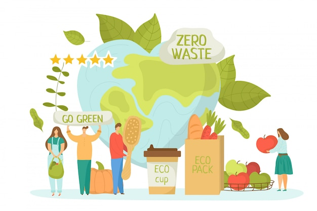 Ноль отходов для экологии окружающей среды, зеленый рециркулировать концепции иллюстрации. сохранить планету земля, натуральная чистая переработка. органический уход и экологическая забота дружелюбными людьми.