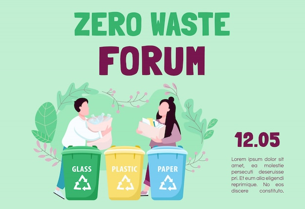 Zero waste forum banner flat template. trash sorting and recycling. brochure, poster concept design with cartoon characters. eco friendly living horizontal flyer, leaflet with place for text