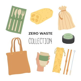 Zero waste hand drawing set of basic items. where to start using less plastic, main objects. go green, say no to plastic.