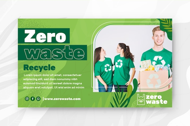 Zero waste horizontal banner template