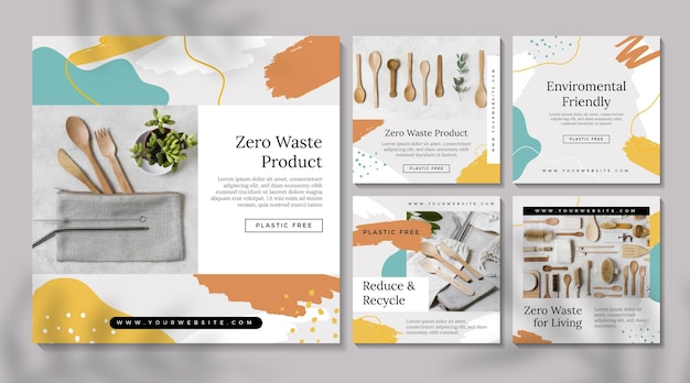 Zero waste instagram posts set