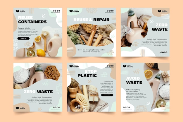 Zero waste instagram posts template