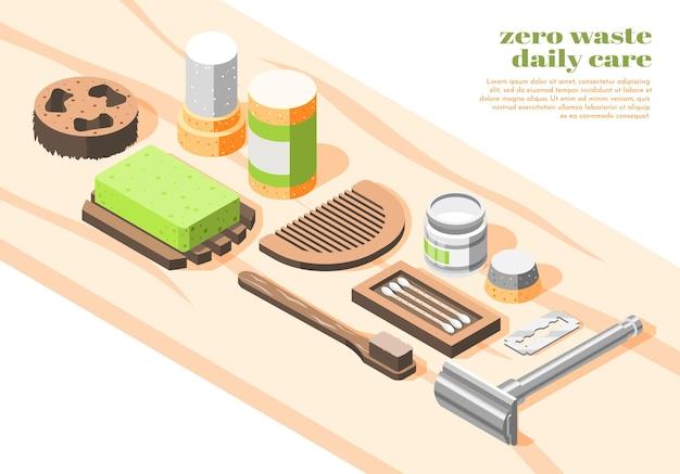 Illustrazione isometrica di rifiuti zero