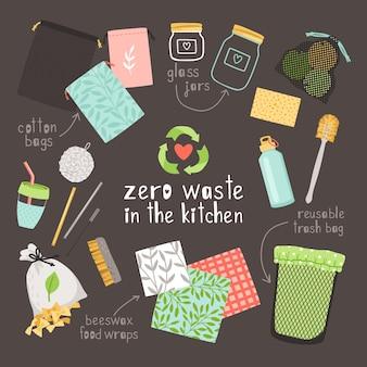 Zero waste items on kitchen