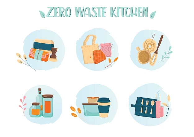 Zero waste kitchen colorfull icons set. collection of eco elements