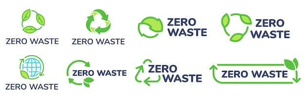 제로 폐기물 라벨. 녹색 환경 친화적 인 레이블, 폐기물을 줄이고 식물 잎이있는 아이콘을 재활용하십시오.