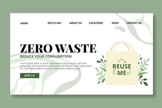 Modello di pagina di destinazione a rifiuti zero