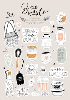 Zero waste life set. glass jar and cutlery, eco grocery bag, toothbrush, natural cosmetic, menstrual cup, thermo mug. . trendy hand drawn black and white illustration in scandinavian style.