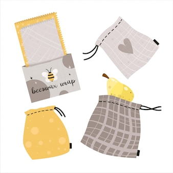 Zero waste lifestyle elements bag and beeswax wrap.