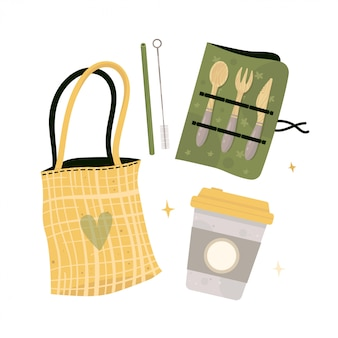 Zero waste lifestyle elements bag, cup, bamboo straw.