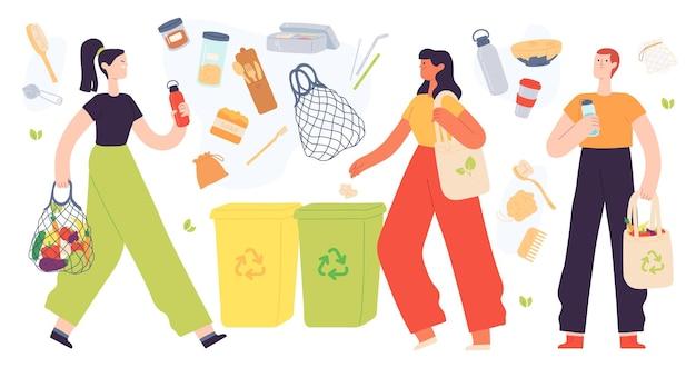 ゼロウェイストライフスタイル。平らな環境にやさしい製品、再利用可能な食料品の袋とごみ箱を持っている人。地球環境保護ベクトルセット。イラストエコライフスタイル、リサイクルエコロジカル