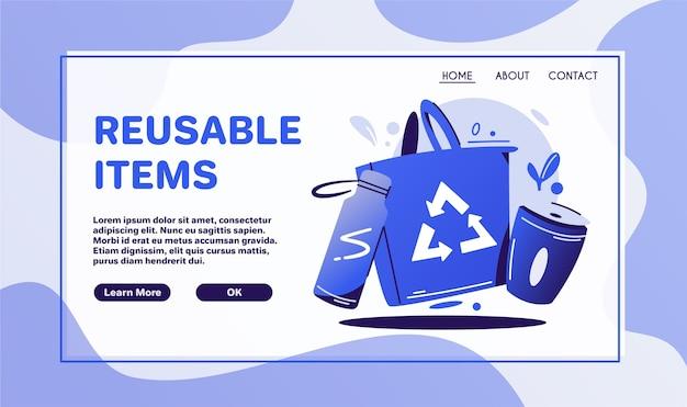 Образ жизни без отходов. никаких пластиковых наклеек с символами кампании по сортировке мусора. эко-сумка, чашка и бутылка. макет дизайна баннера охраны природы