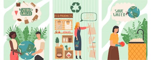 폐기물없는 생활 방식, 플라스틱 제품, 일러스트레이션 구매를 거부함으로써 지구를 구하는 사람들
