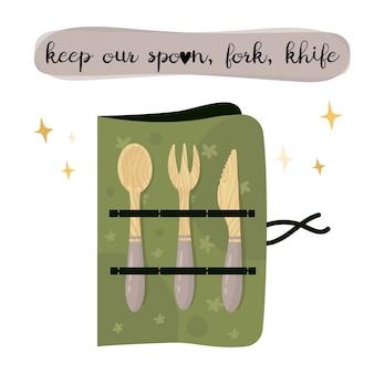 Zero waste lifestyle spoon, fork, knife.