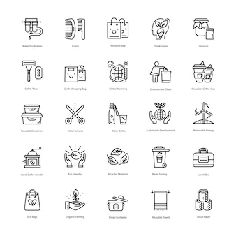 Zero waste line icons pack