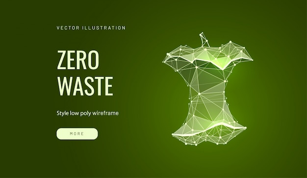Zero waste low poly wireframe landing page template