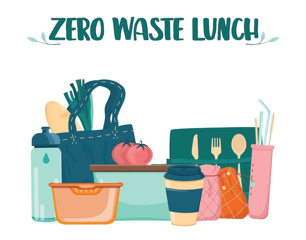 Zero waste lunch set. dish, cup and cultery for people who care about ecology. lunch box, bamboo cultery and reusable cup and straw.