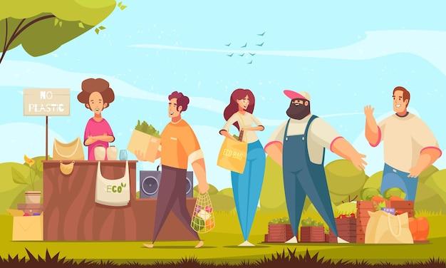 Mercato dei rifiuti zero con sacchetti organici e simboli della confezione piatti