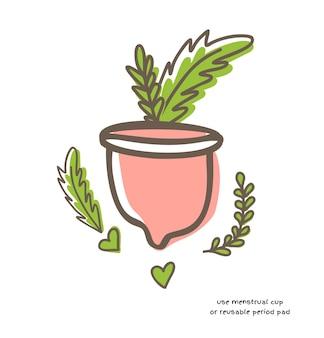 白い背景の落書きベクトルイラストに分離された緑の葉とゼロウェイスト月経カップ。女性の健康の概念、ゼロウェイストの選択肢
