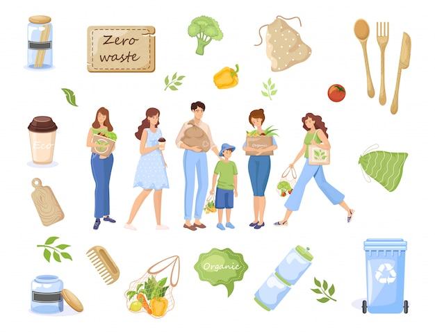 Ноль отходов объектов. люди нося рециркулировать отходы, натуральные продучты в иллюстрации мешков eco.