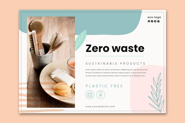 Zero waste plastic free products banner template